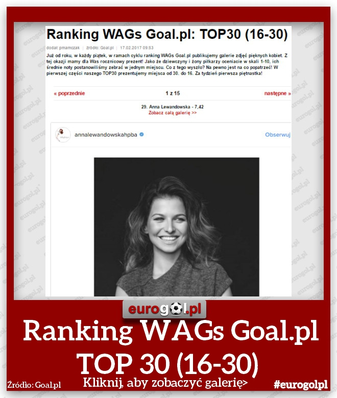 Ranking WAGs Goal.pl TOP 30 (16-30)