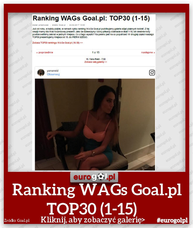 Ranking WAGs Goal.pl TOP 30 (1-15)